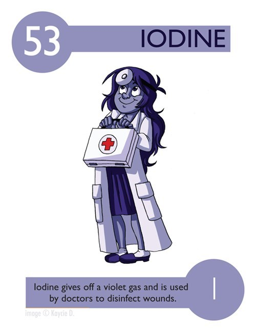 Cartoon - 53 IODINE lodine gives off a violet gas and is used by doctors to disinfect wounds. image Kaycie D