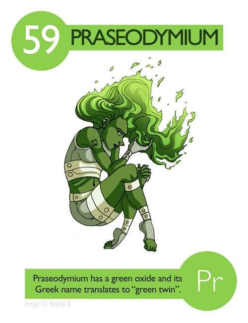 "Fictional character - 59 PRASEODYMIUM Pr Praseodymium has a green oxide and its Greek name translates to ""green twin"" imageKaycie D 있이"