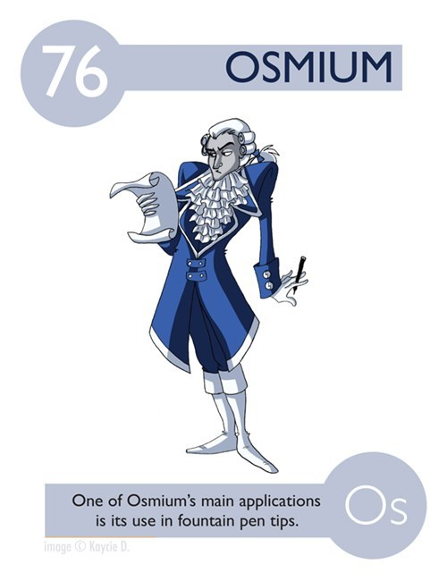 Cartoon - 76 OSMIUM Os One of Osmium's main applications is its use in fountain pen tips. image Kaycie D