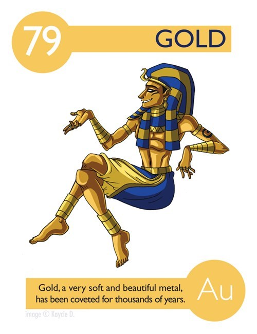 Illustration - 79 GOLD Au Gold, a very soft and beautiful metal, has been coveted for thousands of years. image Kaycie D
