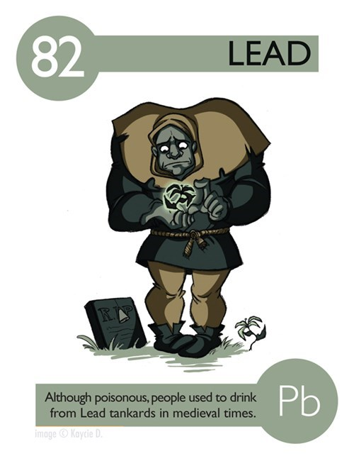 Cartoon - 82 LEAD Pb Although poisonous, people used to drink from Lead tankards in medieval times. image Kaycie D