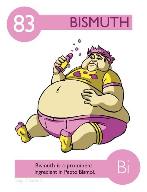 Cartoon - 83 BISMUTH Bi Bismuth is a prominent ingredient in Pepto Bismol. image Kaycie D