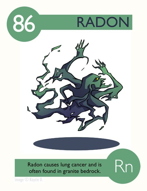Green - 86 RADON Rn Radon causes lung cancer and is often found in granite bedrock. image Kaycie D