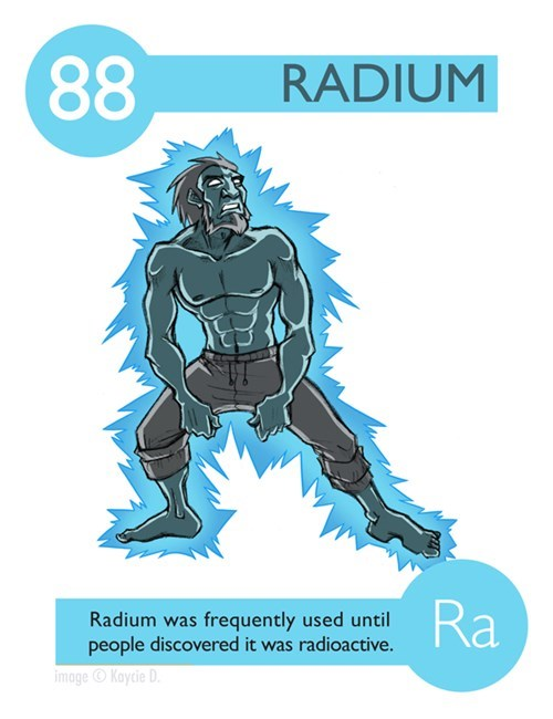 Fictional character - 88 RADIUM Ra Radium was frequently used until people discovered it was radioactive. image Kaycie D