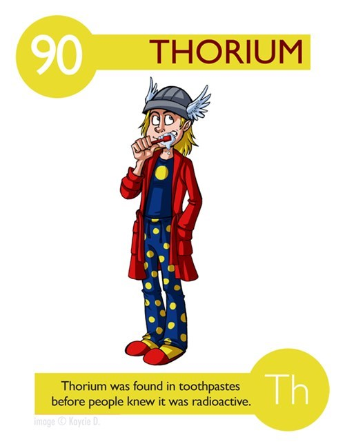 Cartoon - 90 THORIUM Th Thorium was found in toothpastes before people knew it was radioactive. image Kaycie D