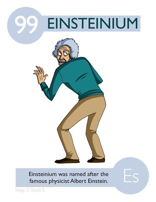 Cartoon - 99 EINSTEINIUM Es Einsteinium was named after the famous physicist Albert Einstein. image Kaycie D