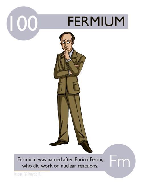 Cartoon - 100 FERMIUM Fm Fermium was named after Enrico Fermi, who did work on nuclear reactions. image Kaycie D