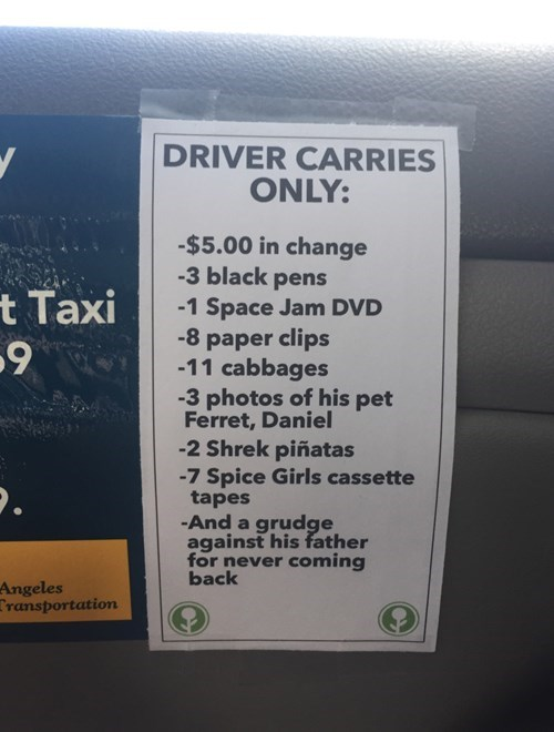 funny memes taxi driver sign