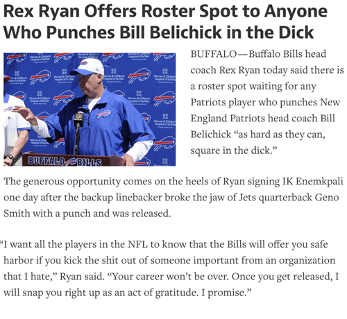 rex ryan offers roster spot to anyone who punches bill belichick in the dick