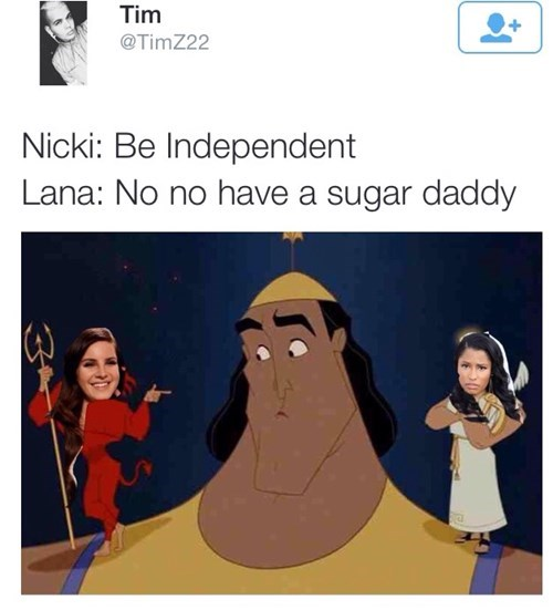 Nicki Minaj VS Lana Del Rey meme of a genie with the option of Sugar Daddy or Independent. The Struggle is Real