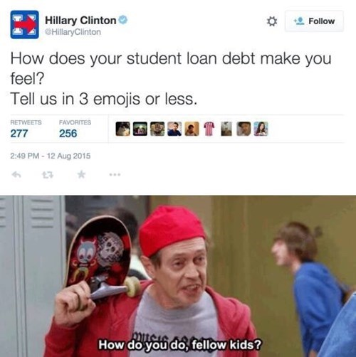 funny memes student loan debt hilary twitter