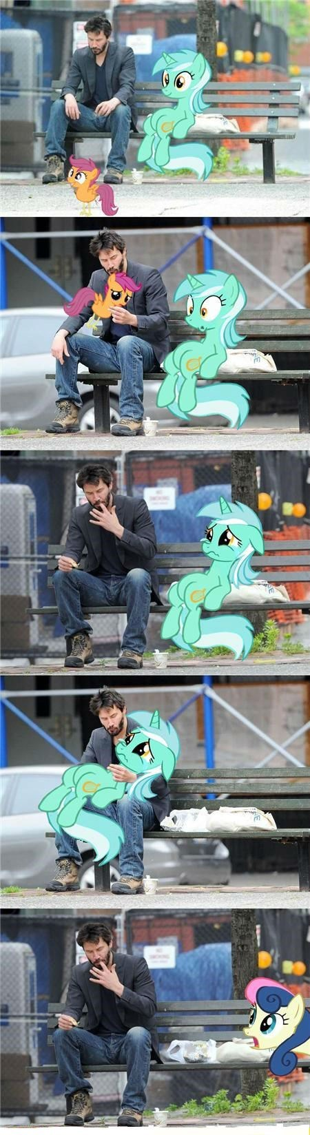 lyra,chicken,keanu,Scootaloo,bench