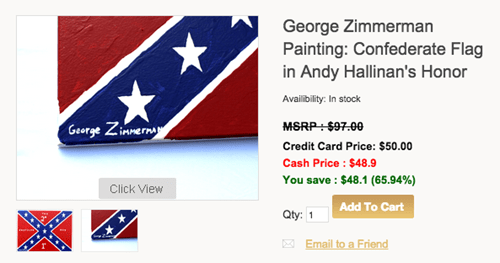 George Zimmerman wants to sell a confederate flag painting for an Anit-Islamic gun shop.