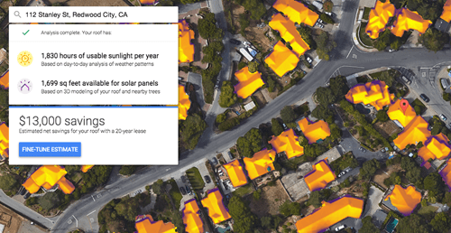 Google launches project sunroof to help you decide if you should instal solar panels or not.