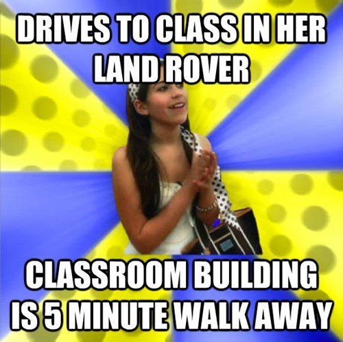Photo caption - DRIVES TO CLASS IN HER LAND ROVER CLASSROOM BUILDING IS5MINUTE WALKAWAY