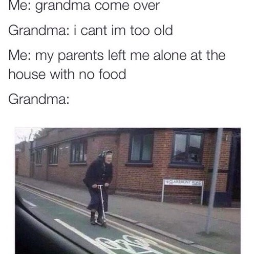 Not Even the Grim Reaper Could Stop a Grandma On Her Way to a Hungry Grandkid
