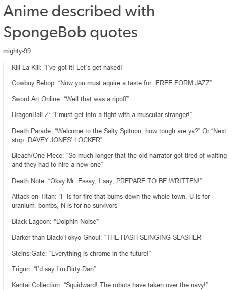quotes anime SpongeBob SquarePants cartoons - 8554145792