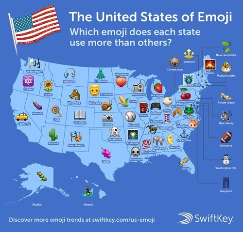 Swiftkey maps out the most used emojis per state.