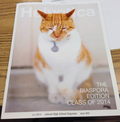 cute cats image He's Even Appeared on the Cover of the School Magazine and in the Yearbook