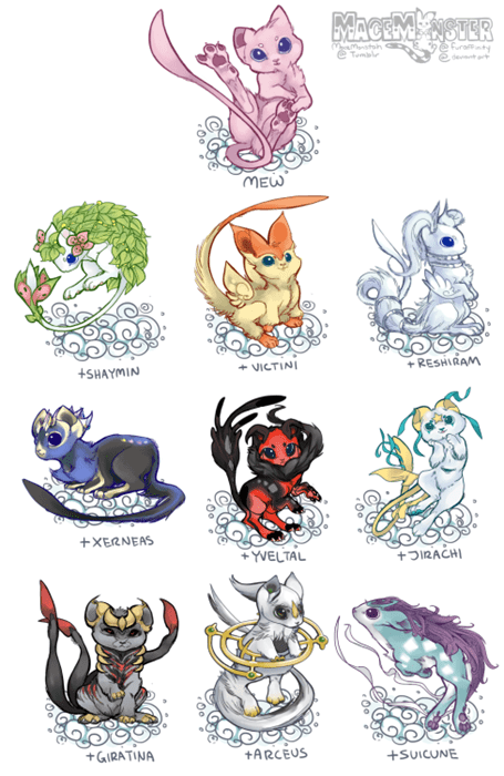 pokemon memes mew variations with legendaries