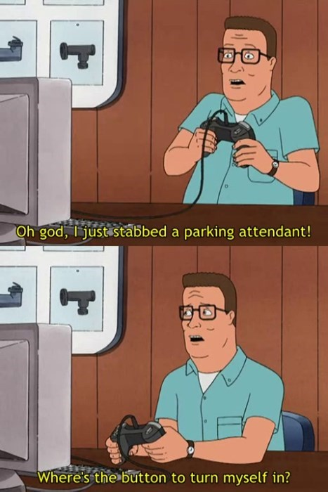 cartoon memes king of the hill stabbed parking attendant
