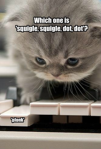 Which one is  'squigle, squigle, dot, dot'?
