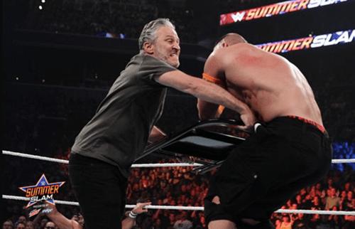 Jon Stewart Finds New Calling, Slams John Cena With Chair