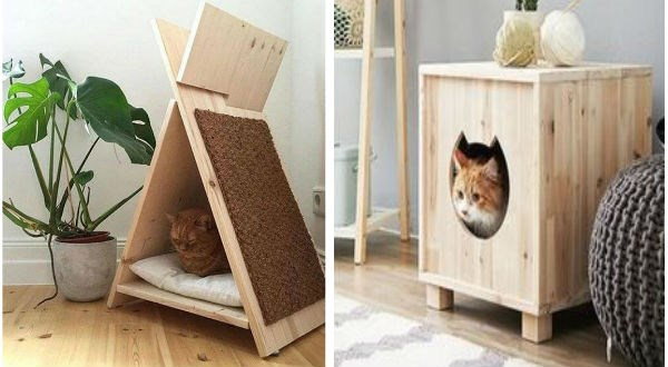two wooden cat houses