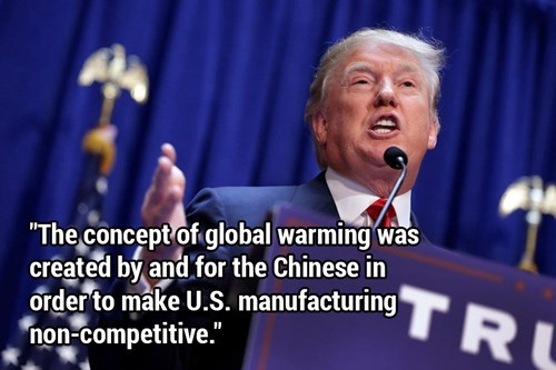 Funny meme of Donald Trump accusing China of inventing the concept of global warming.