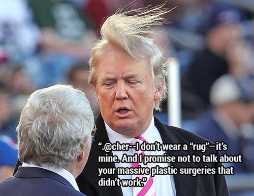 """Donald Trump quote - Facial expression - """"@cher Idontwear a """"rug-it's mine And Opromise not to talk about your massive plastic surgeries that didn't work"""