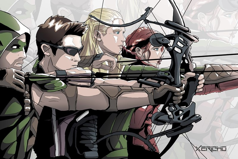 arrow,legolas,katniss,archers,hawkeye,team up