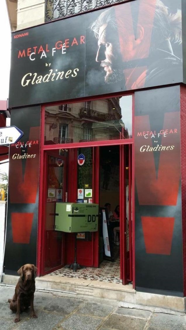 A metal gear solid cafe is open in Paris.