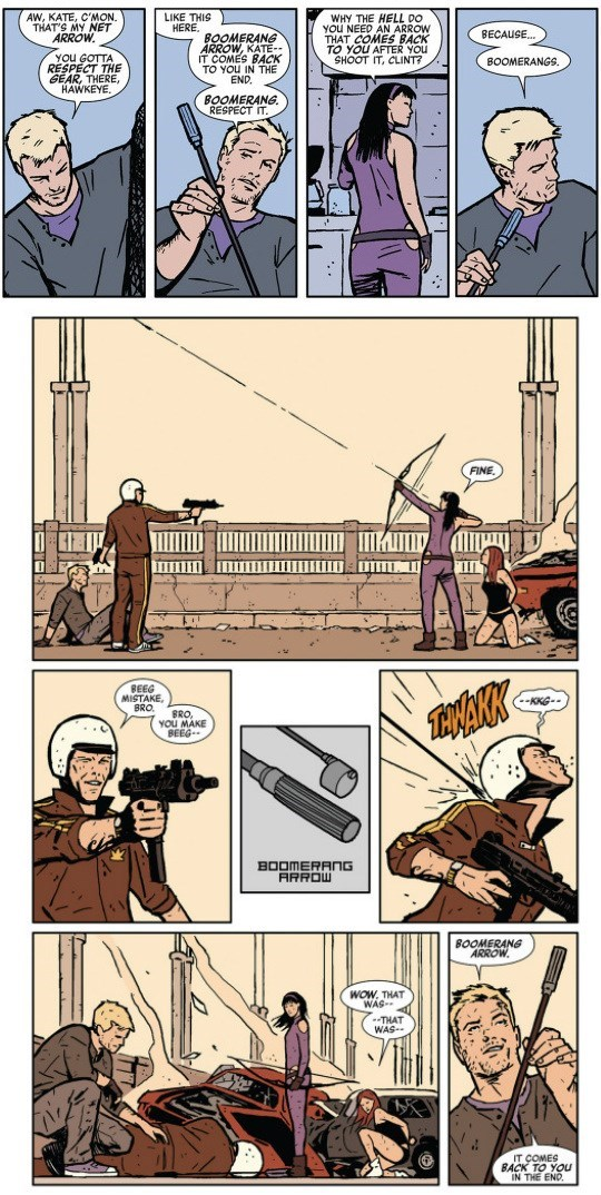 superheroes-hawkeye-kate-bishop-clint-barton-boomerang-arrow-panel-marvel