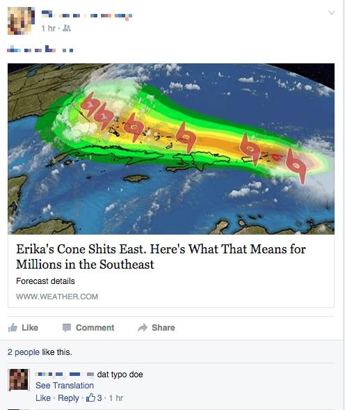 facebook hurricane erika typo