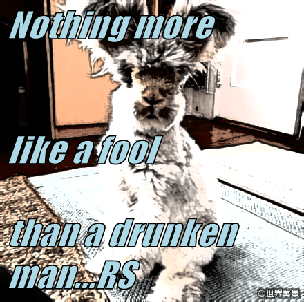 Nothing more like a fool than a drunken man...RS