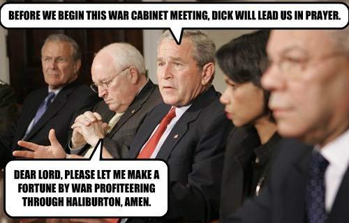 BEFORE WE BEGIN THIS WAR CABINET MEETING, d*ck WILL LEAD US IN PRAYER.