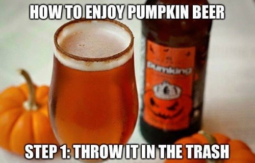 funny memes pumpkin beer in the trash