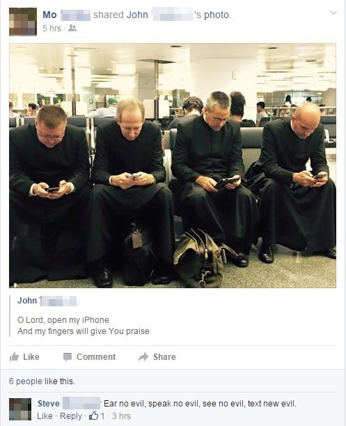iPhones,priests,texting
