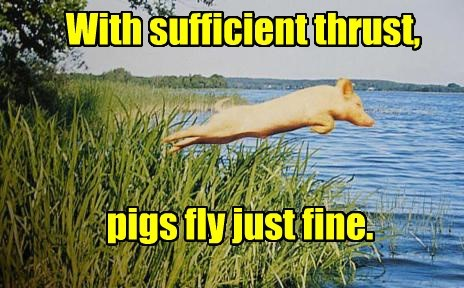 With sufficient thrust, pigs fly just fine.