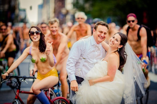 Takes Wedding Pictures In The Middle Of Naked Bike Ride