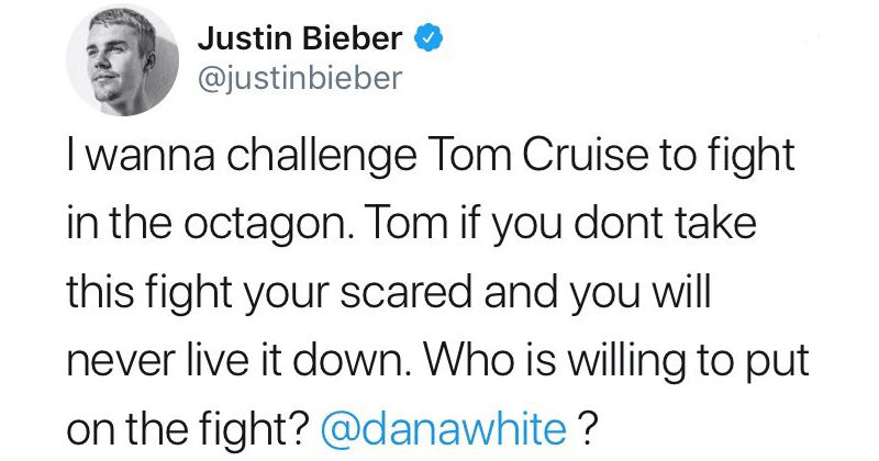 Funny tweets about Justin Bieber challenging Tom Cruise to a UFC fight.