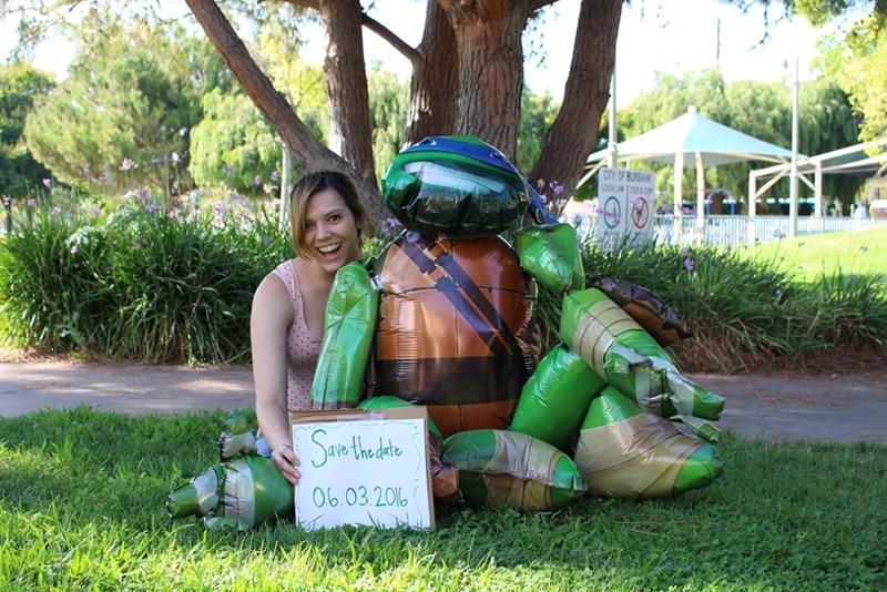 Woman Posts Engagement Photos With Life-Size Teenage Mutant Ninja Turtle Balloon Leonardo