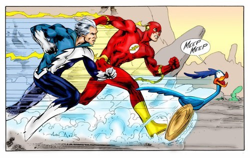 superheroes-flash-quicksilver-race-marvel-vs-dc-road-runner-art