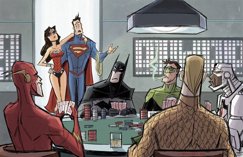 superheroes-superman-justice-league-dc-poke-night-art