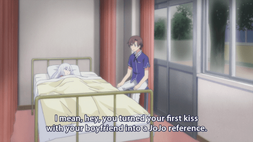 anime memes first kiss jojo reference oreshura
