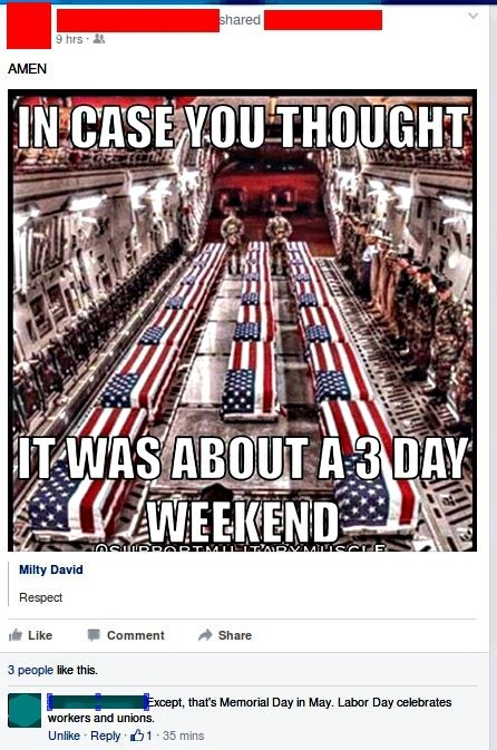 facepalm mixed up labor day holiday memorial day - 8561706240