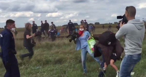 Outrage of the Day: Hungarian Journalist Fired After Caught On Tape Tripping, Kicking Refugees