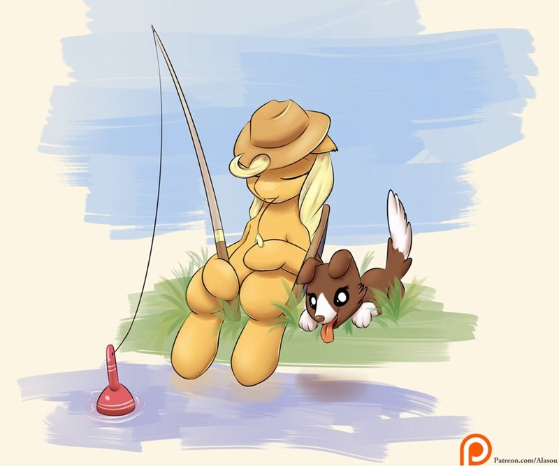 gone fishin,applejack,cute
