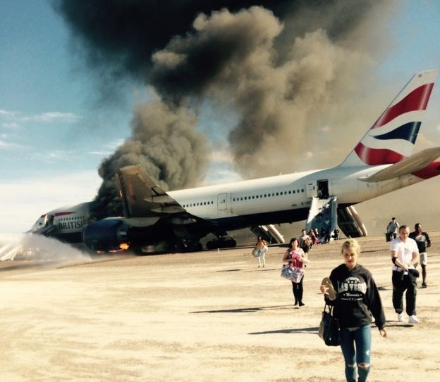 A British Airways plane catches fire in Las Vegas.