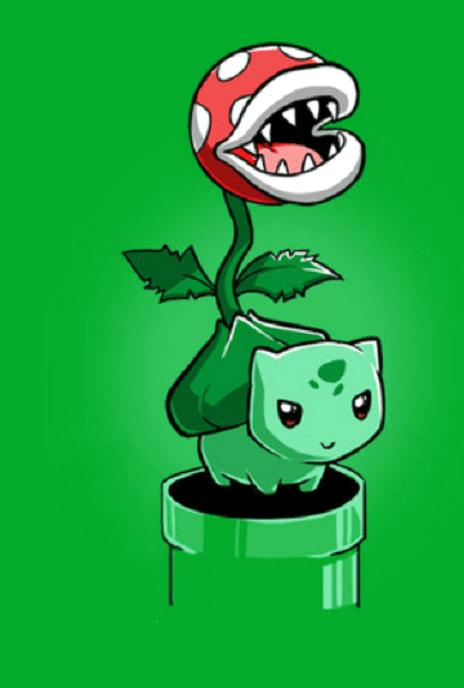 crossover,bulbasaur,Piranha Plant